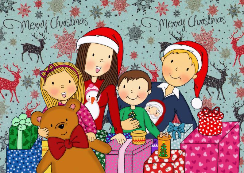 Kerstkaarten - Kerst Gezinnetje Cadeaus - TbJ
