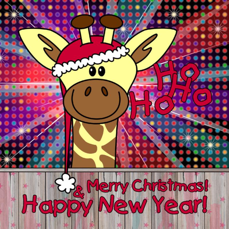 Kerstkaarten - Kerst giraffe disco 4knt