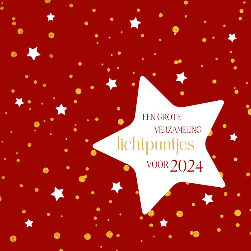 Kerstkaarten - Kerst gouden lichtpuntjes met sterren
