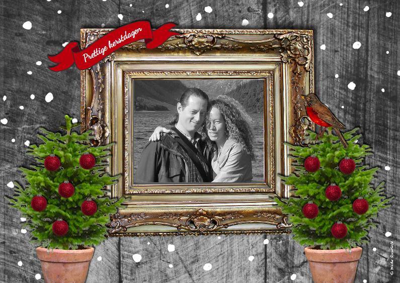 Kerstkaarten - Kerst gouden lijst 1
