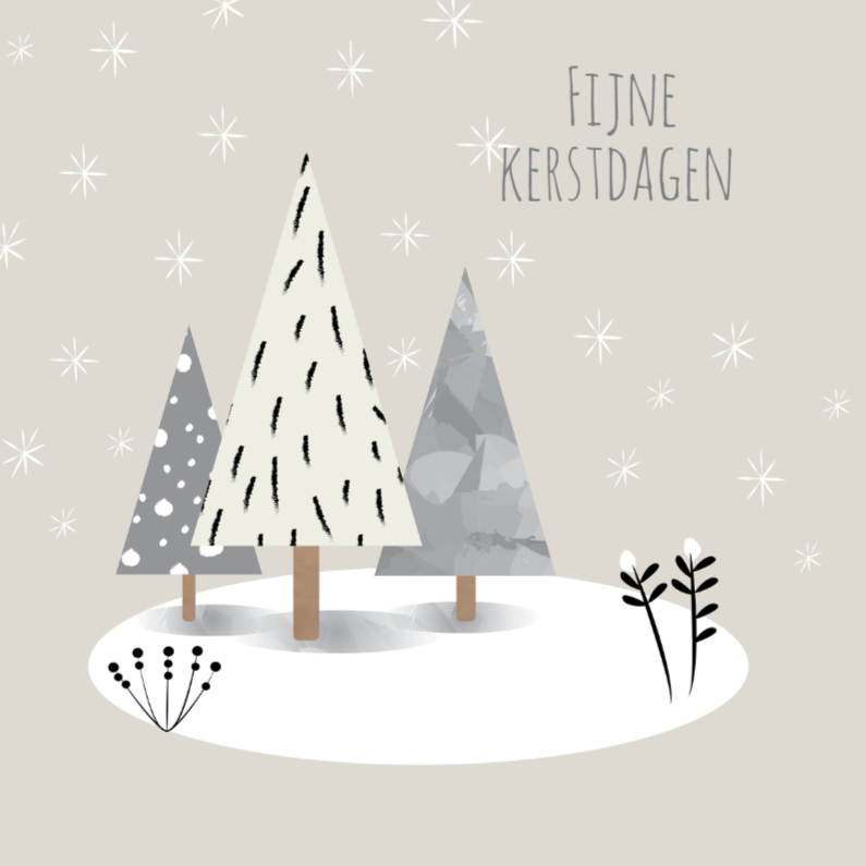 Kerstkaarten - Kerst - Gray Trees - MW