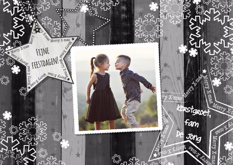 Kerstkaarten - Kerst grijs hout foto L-HB