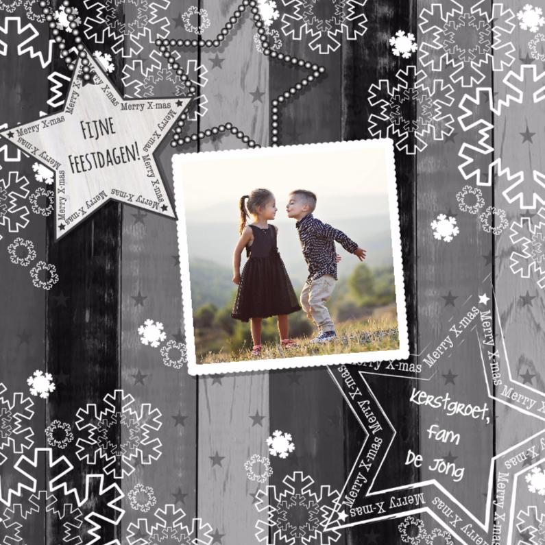 Kerstkaarten - Kerst grijs hout foto Vknt-HB