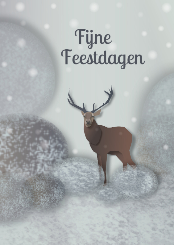 Kerstkaarten - Kerst - Hert in 't bos - MW
