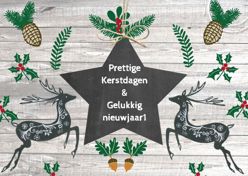 Kerstkaarten - Kerst herten ster
