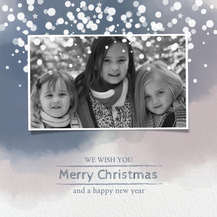 Kerstkaarten - Kerst hippe foto kerstkaart papier waterverf sneeuwvlokken