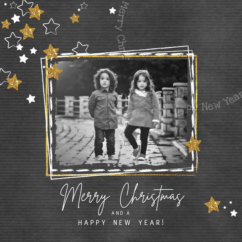 Kerstkaarten - Kerst hippe grijze kaart met witte en gouden sterren en foto