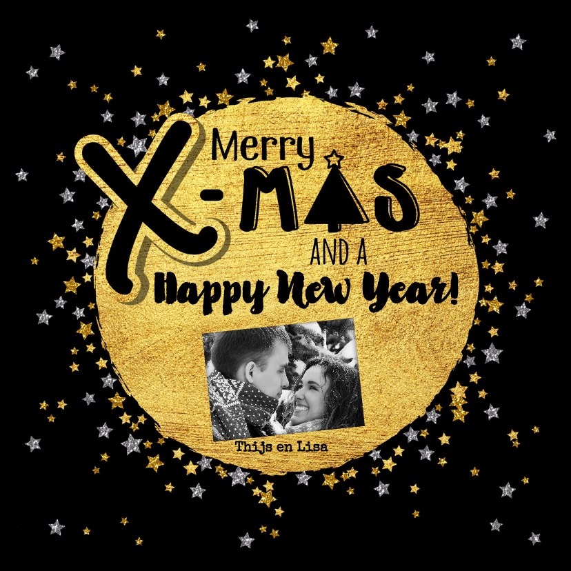 Kerstkaarten - Kerst hippe handlettering kaart glitter goud