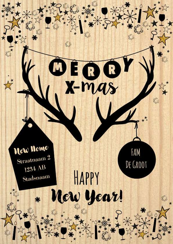 Kerstkaarten - Kerst hippe verhuiskaart hout, rendier gewei en sterren