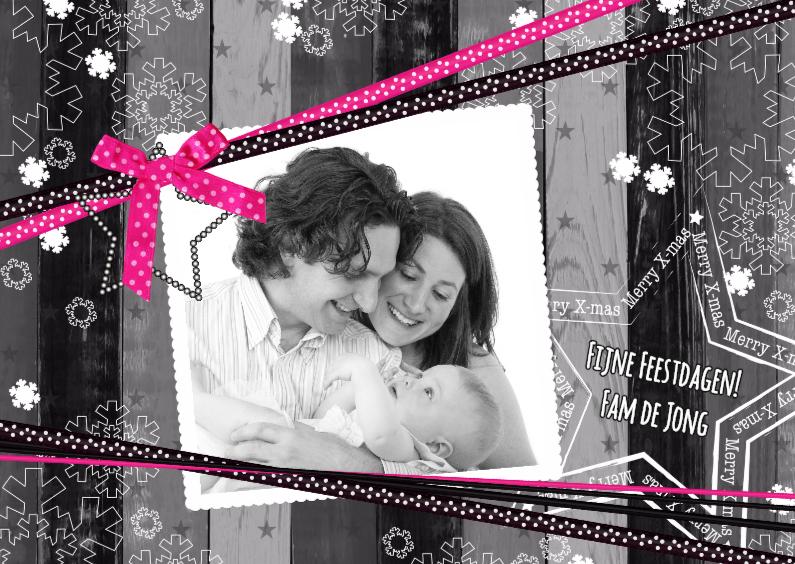 Kerstkaarten - Kerst hout grijs lint roze L-HB