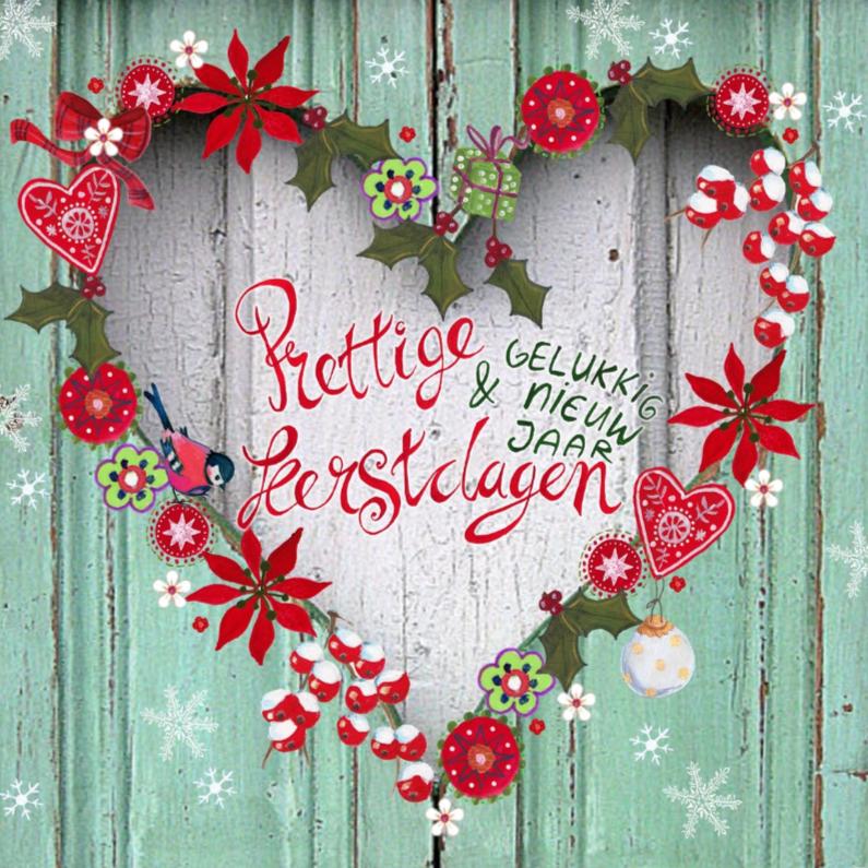Kerstkaarten - Kerst hout Hart Krans Bloemen