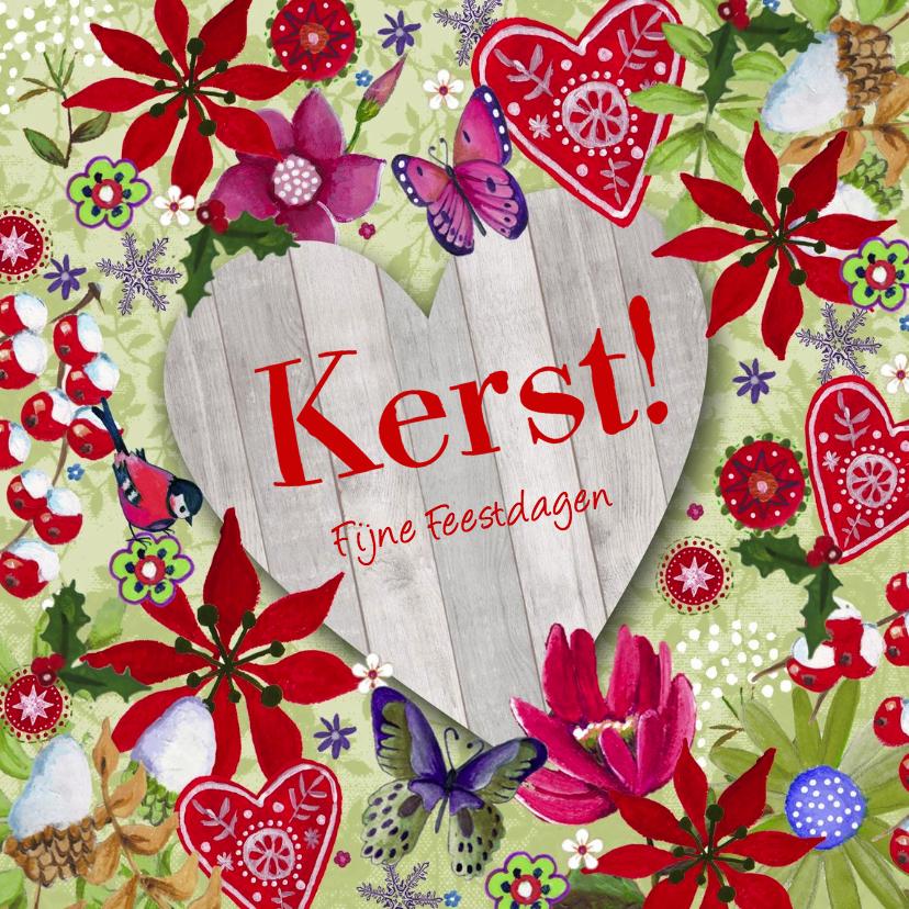 Kerstkaarten - KERST hout HART Vrolijk Bloemen