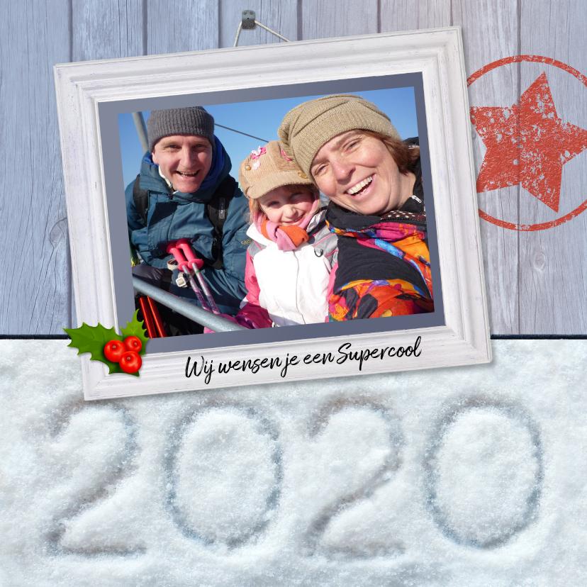 Kerstkaarten - Kerst Hout met sneeuw 2020
