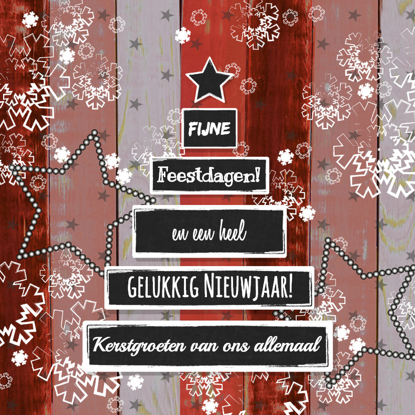 Kerstkaarten - Kerst hout rood krijtbord boom V