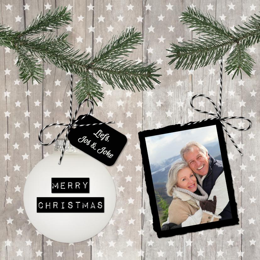 Kerstkaarten - Kerst Hout Sterren Kerstbal VK