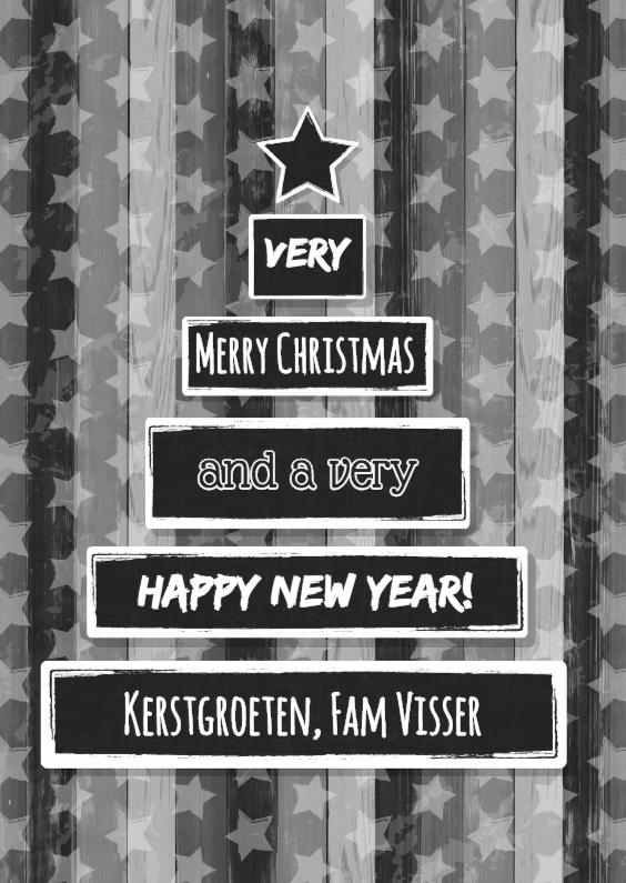 Kerstkaarten - Kerst houtprint krijtbord ster S