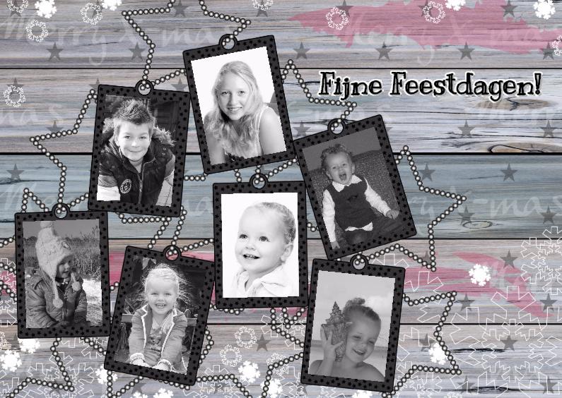Kerstkaarten - kerst houtprint labels 7 foto'sL