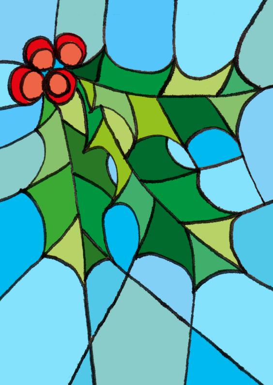 Kerstkaarten - Kerst hulst