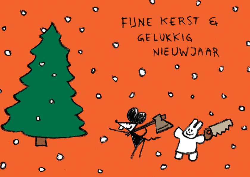 Kerstkaarten - Kerst Joep & Hop denneboom