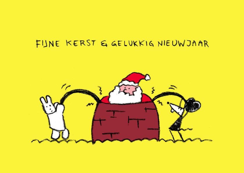 Kerstkaarten - Kerst Joep en Hop en kerstman