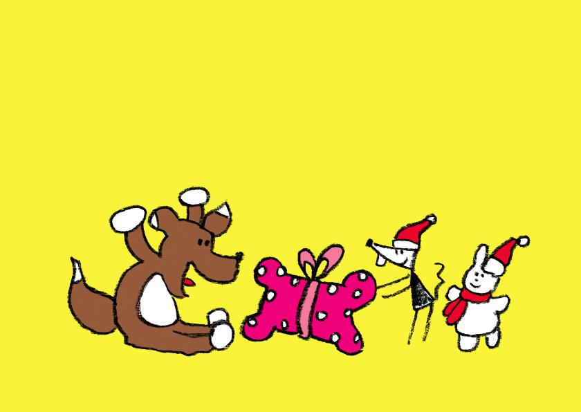Kerstkaarten - Kerst Joep & Hop geven kado