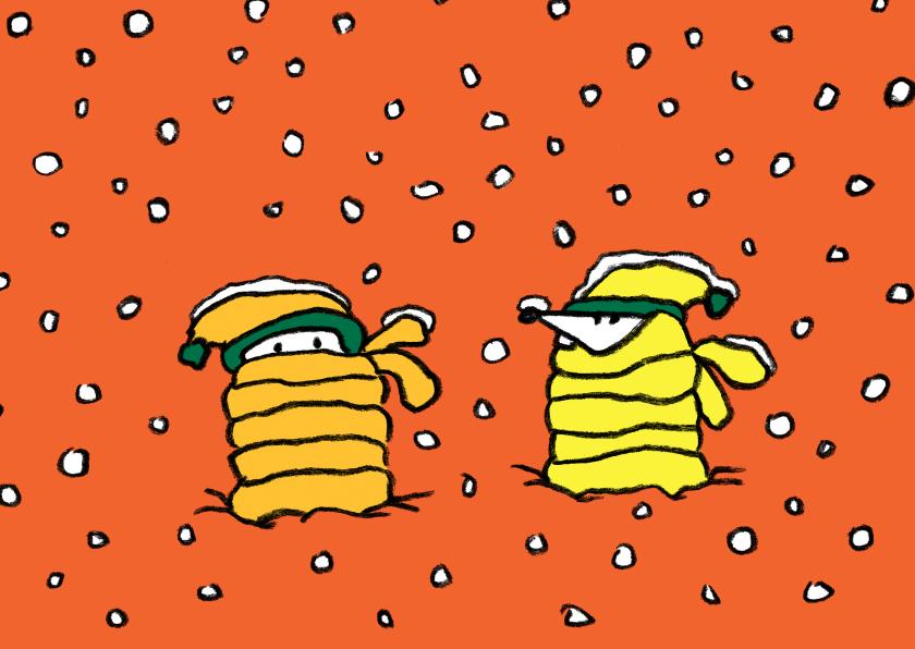 Kerstkaarten - Kerst Joep & Hop koude sneeuw