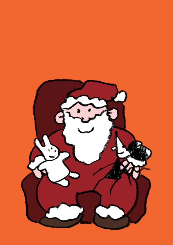 Kerstkaarten - Kerst Joep en Hop op schoot