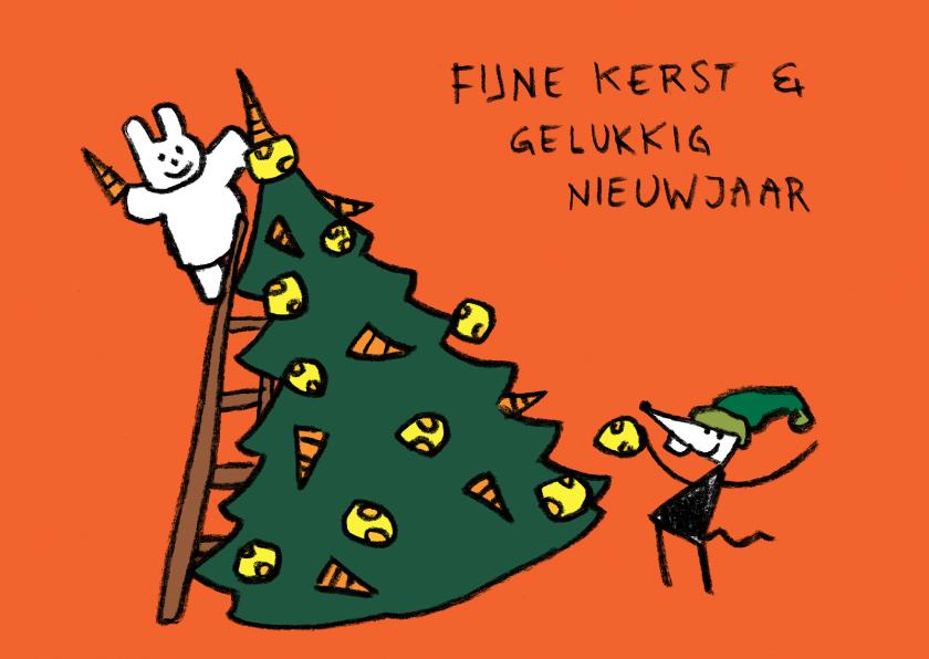 Kerstkaarten - Kerst Joep en Hop piek op boom