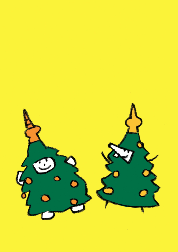 Kerstkaarten - Kerst Joep en Hop verkleed