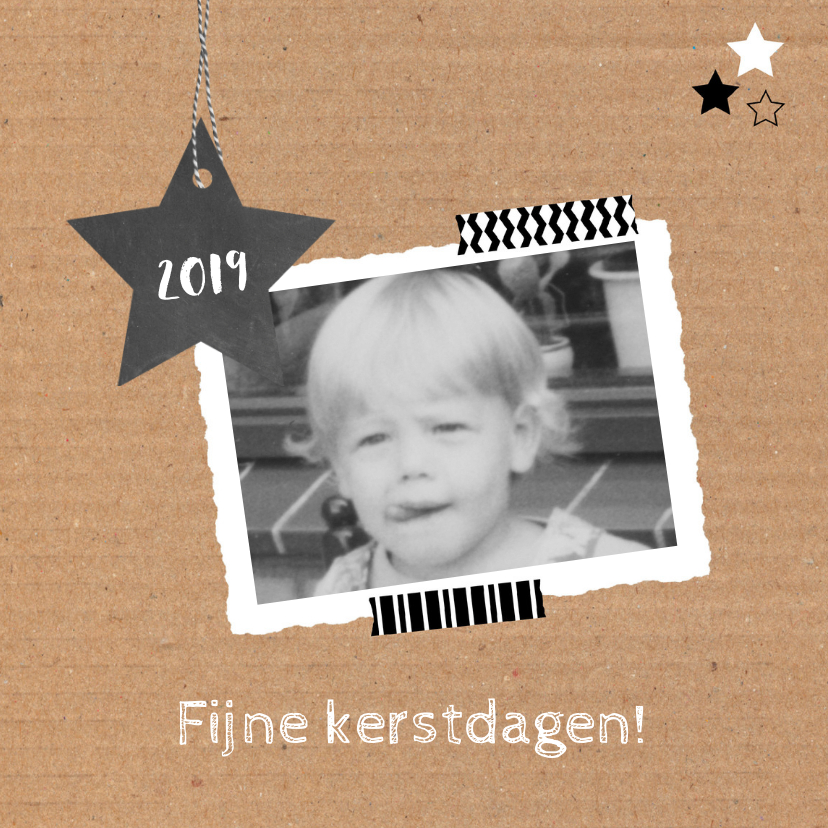 Kerstkaarten - Kerst Karton, ster, foto