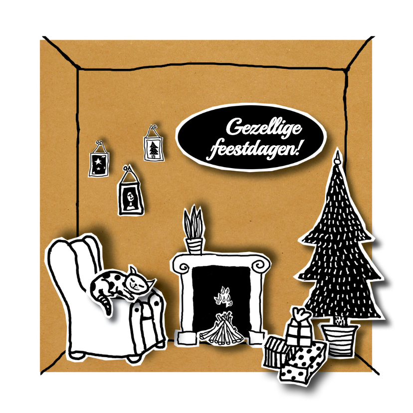 Kerstkaarten - Kerst - Kerst in huis - MW