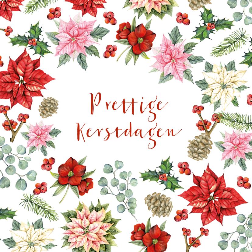 Kerstkaarten - Kerst kerstbloemen met takjes