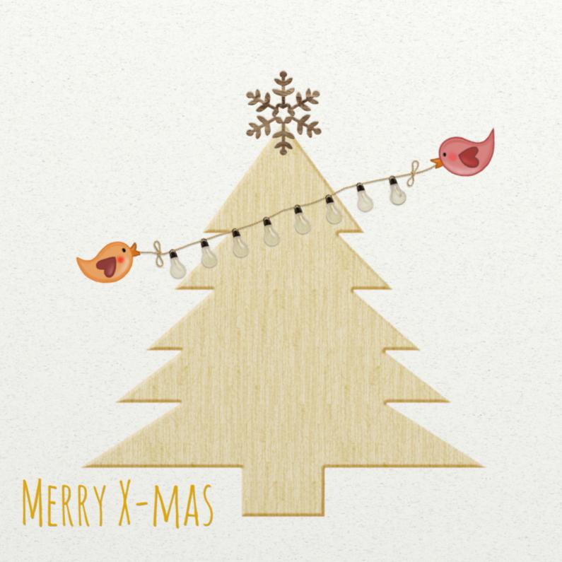 Kerstkaarten - Kerst Kerstboom Hout - TbJ