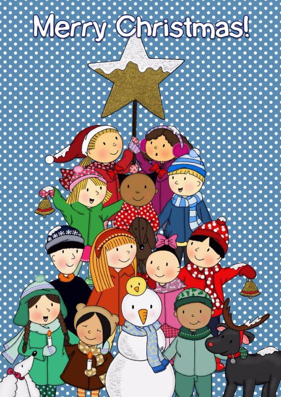 Kerstkaarten - Kerst Kerstboom Kinderen - TbJ