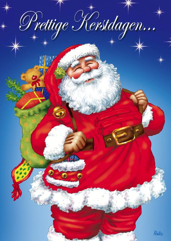 Kerstkaarten - kerst kerstman 1 kerstman met zak op rug