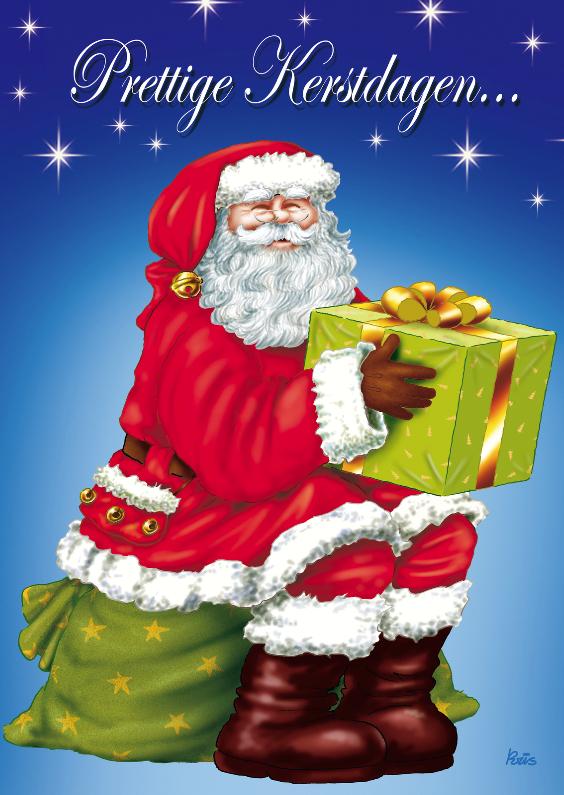 Kerstkaarten - kerst kerstman 2 kerstman met cadeau