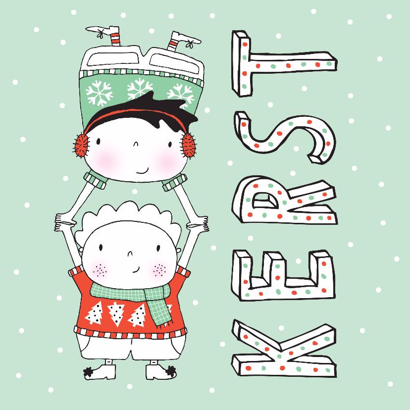 Kerstkaarten - Kerst kinderen kersttrui oorwarmers sjaal mint - MW