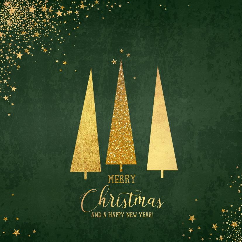 Kerstkaarten - Kerst klassieke donker groene kaart met 3 kerstbomen