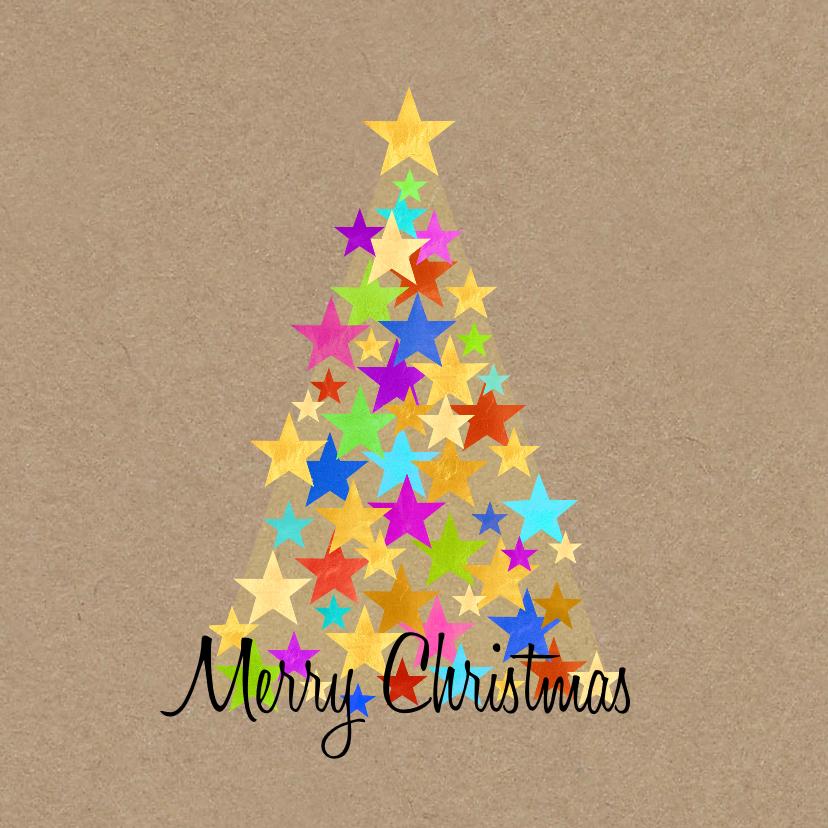 Kerstkaarten - Kerst kleurige sterren boom