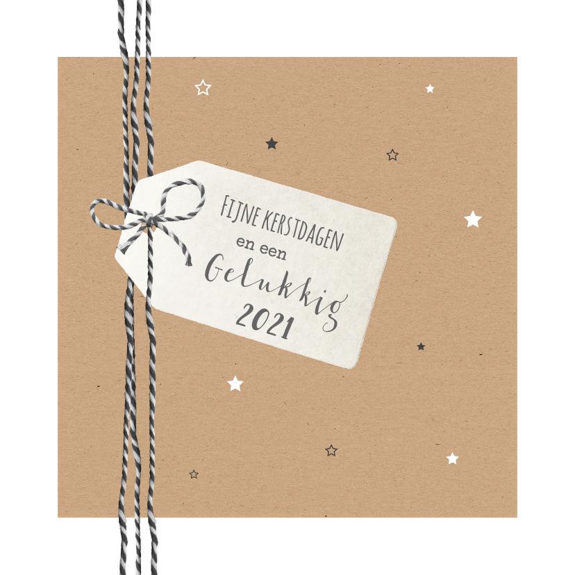 Kerstkaarten - Kerst - Kraft met touw, label en sterren