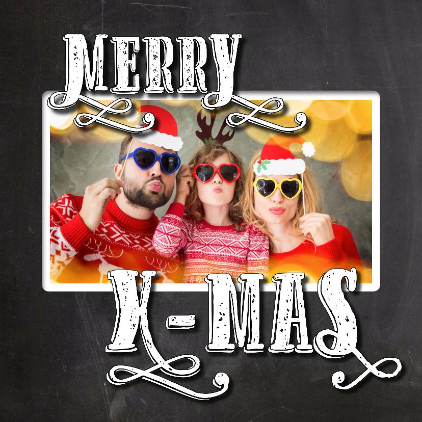 Kerstkaarten - Kerst krijt letters met foto SG