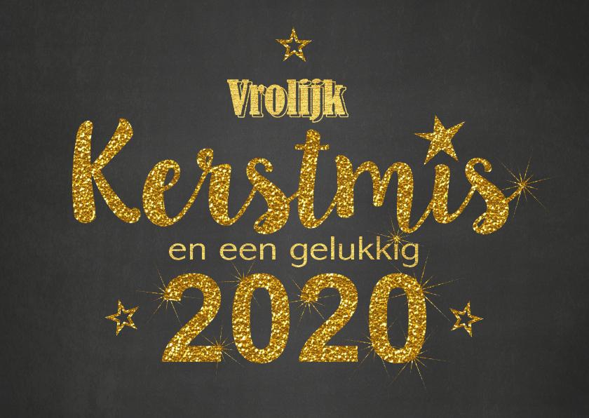 Kerstkaarten - Kerst krijtbord handlettering goud glitter 2020