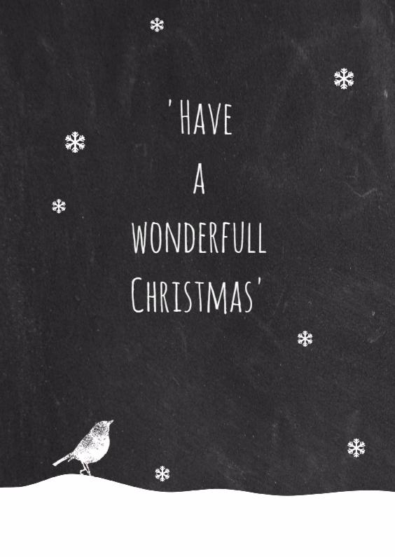 Kerstkaarten - Kerst krijtbord vogel