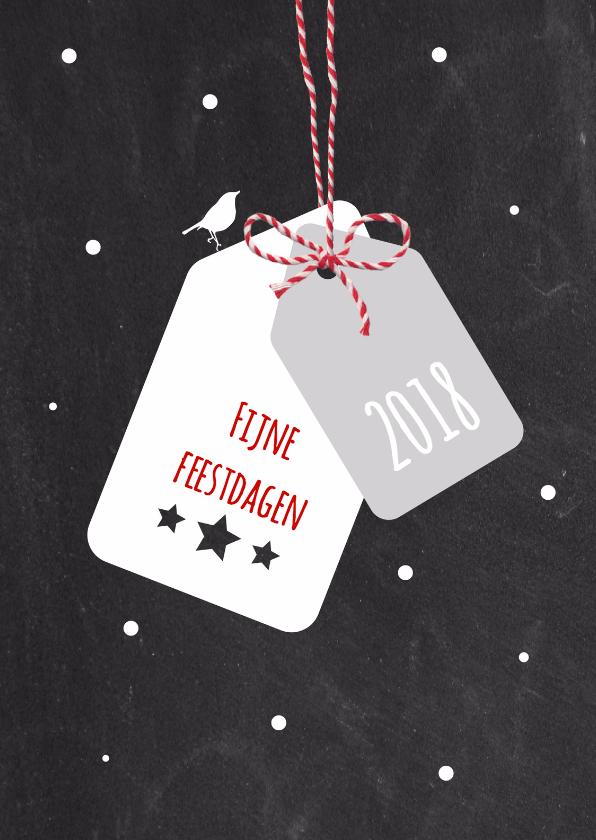 Kerstkaarten - Kerst - Label, strikje, vogel