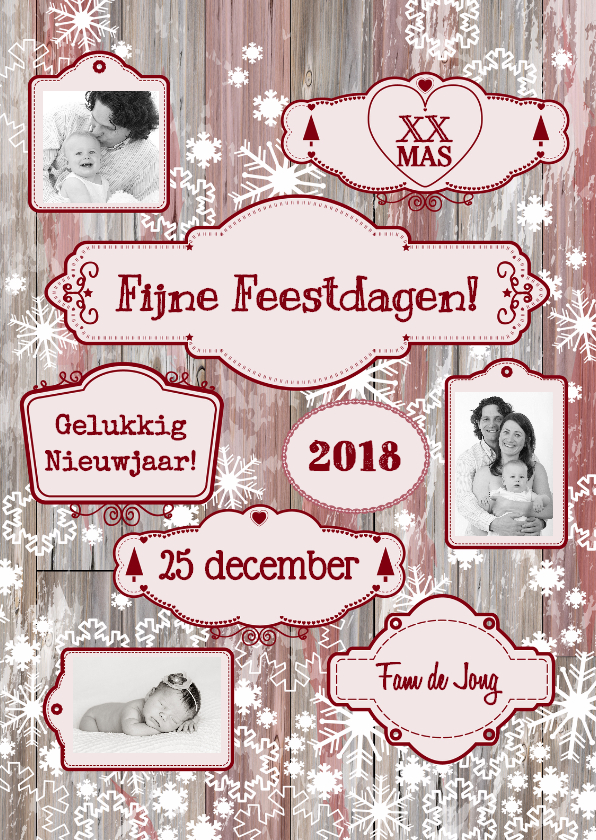 Kerstkaarten - Kerst labels sneeuw rood S-HB