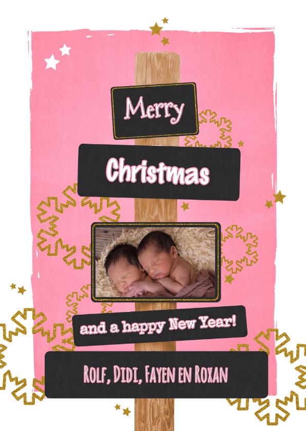 Kerstkaarten - Kerst lief en stoer glitter foto