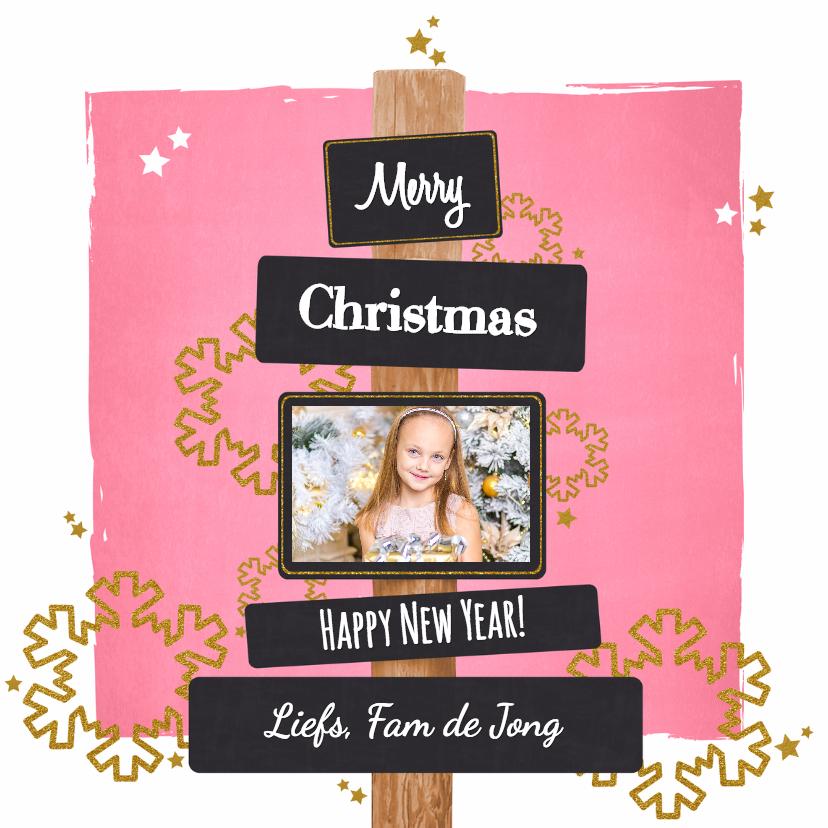 Kerstkaarten - Kerst lief fotokaartje roze goud