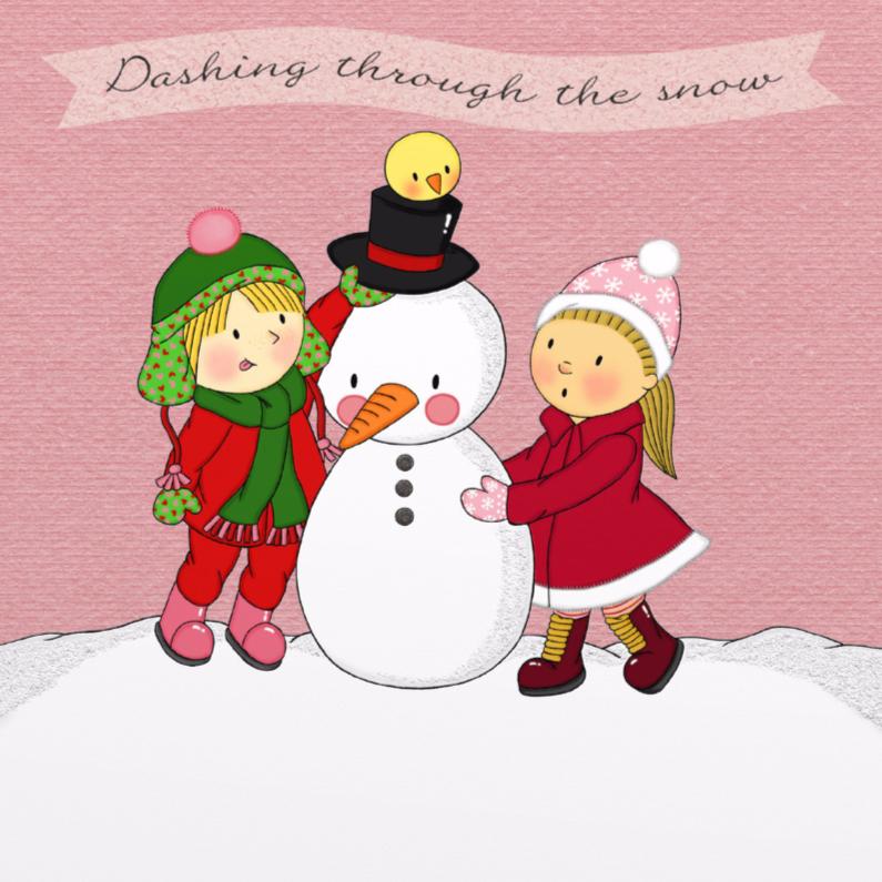 Kerstkaarten - Kerst Lieve Meisjes Sneeuw - TbJ