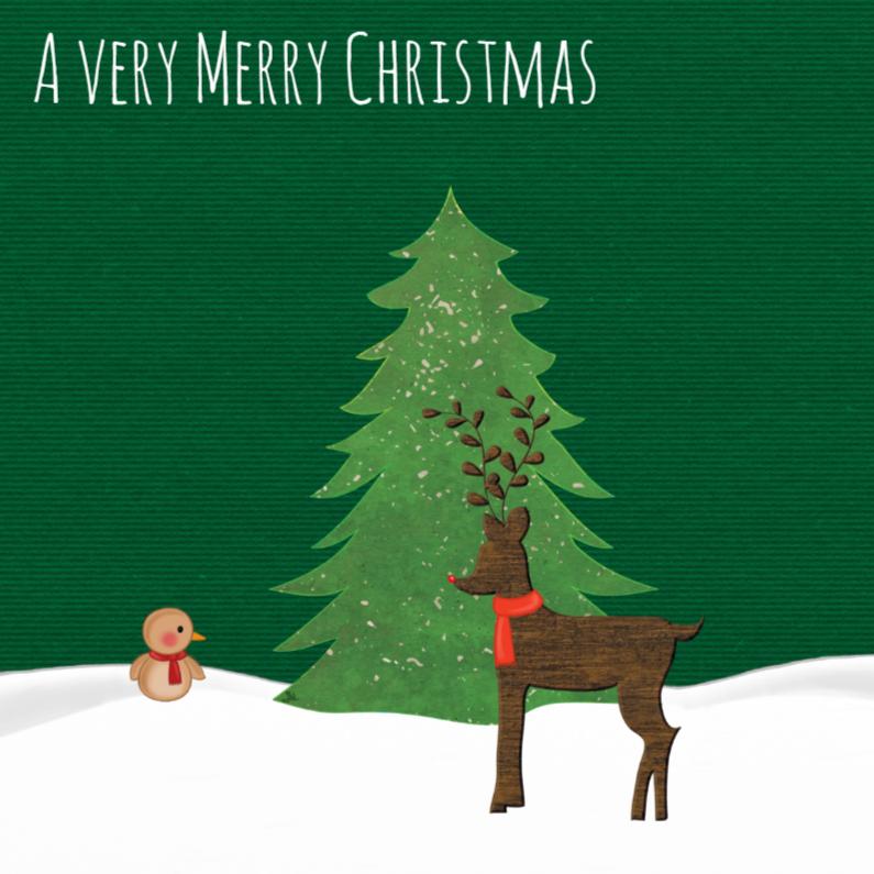 Kerstkaarten - Kerst Little Birdie & Deer -TbJ
