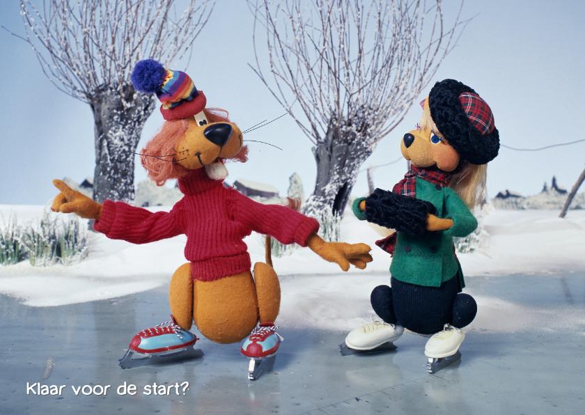 Kerstkaarten - Kerst Loeki de Leeuw en Roos schaatsen